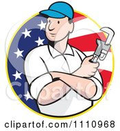 Clipart Retro Plumber Holding A Monkey Wrench Over An American Flag Circle Royalty Free Vector Illustration
