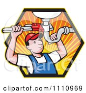 Clipart Retro Plumber Working On A Sink Pipe In A Hexagon Of Rays Royalty Free Vector Illustration by patrimonio