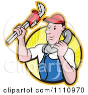 Retro Plumber Holding A Monkey Wrench And Taking A Call Over A Circle Of Rays