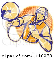 Retro Woodcut Engineer Holding An Ultrasound Sonar Satellite Dish Over A Circle Of Rays