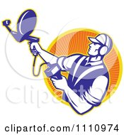 Clipart Retro Engineer Holding An Ultrasound Sonar Satellite Dish Over A Circle Of Rays Royalty Free Vector Illustration