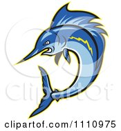 Clipart Aggressive Blue Sailfish Jumping Royalty Free Vector Illustration by patrimonio