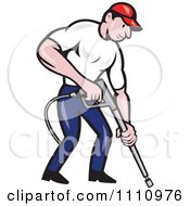 Clipart Retro Pressure Washer Worker Pointing A Nozzle Royalty Free Vector Illustration