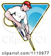 Clipart Retro Pressure Washer Worker Over A Blue Triangle Of Rays Royalty Free Vector Illustration