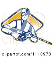 Clipart Retro Pressure Washer Worker Over A Diamond Of Rays 1 Royalty Free Vector Illustration