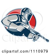 Clipart Retro Pressure Washer Worker Over A Red Circle Royalty Free Vector Illustration