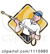 Clipart Retro Pressure Washer Worker Over A Diamond Of Rays 2 Royalty Free Vector Illustration