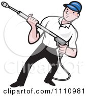 Clipart Retro Pressure Washer Worker Holding A Nozzle Royalty Free Vector Illustration