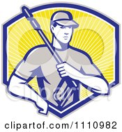 Clipart Retro Pressure Washer Worker Over A Shield Of Rays Royalty Free Vector Illustration