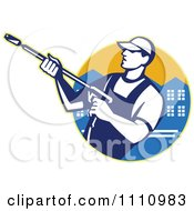 Clipart Retro Pressure Washer Worker Over An Urban Circle Royalty Free Vector Illustration