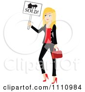 Clipart Stylish Blond Real Estate Agent Holding A Sold Sign Royalty Free Vector Illustration