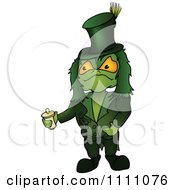 Clipart Green Water Sprite Holding A Container Royalty Free Vector Illustration by dero
