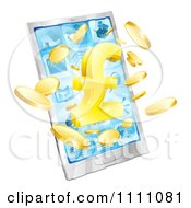 Clipart 3d Golden Pound Symbol And Coins Bursting From A Cell Phone Screen Royalty Free Vector Illustration by AtStockIllustration