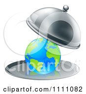 Clipart 3d Globe Searved On A Silver Platter Royalty Free Vector Illustration