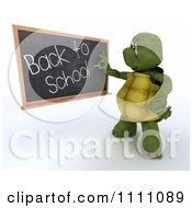 Clipart 3d Tortoise Teacher Writing Back To School On A Blackboard Royalty Free CGI Illustration