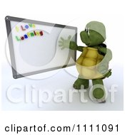3d Tortoise Teacher Presenting A White Board With I Love Learning Magnets