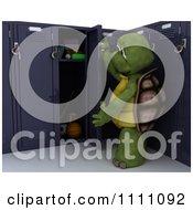 Clipart 3d Tortoise Opening His School Locker Royalty Free CGI Illustration
