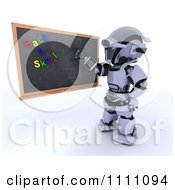 Clipart 3d Robot Teacher Presenting A Black Board With Back 2 Skool Magnets Royalty Free CGI Illustration