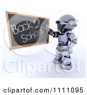 Clipart 3d Robot Teacher Writing Back 2 School On A Black Board Royalty Free CGI Illustration