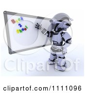 3d Tortoise Teacher Presenting A White Board With Back 2 Skool Magnets