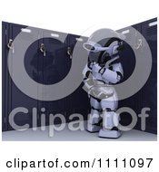 Clipart 3d Robot Standing By His School Locker Royalty Free CGI Illustration