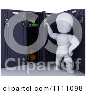 3d White Character Opening His School Locker