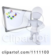 3d White Character Teacher Presenting A White Board With Back To School Magnets