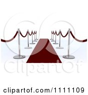 3d Velvet Ropes Along A Red Carpet