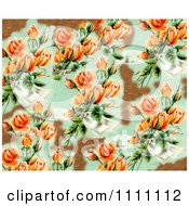 Collage Pattern Of Peach Victorian Roses And Bronze Leaf