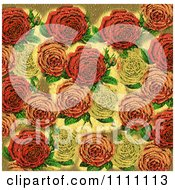 Collage Pattern Of Textured Victorian Roses