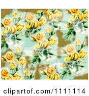 Collage Pattern Of Yellow Victorian Roses And Gold Leaf