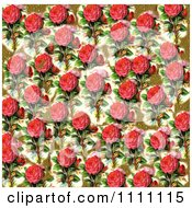 Clipart Collage Pattern Of Pink Victorian Roses And Gold Leaf Royalty Free Illustration