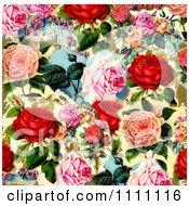 Collage Pattern Of Victorian Roses