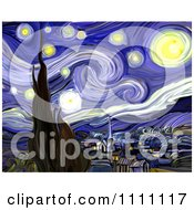 Clipart Revision Of Goghs The Starry Night Royalty Free Illustration