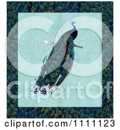 Clipart Peacock Over Lace And A Feather Pattern Royalty Free Illustration by Prawny Vintage