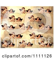 Clipart Collage Pattern Of Victorian Cherubs Royalty Free Illustration