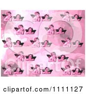Clipart Collage Pattern Of Victorian Cherubs In Pink Tones Royalty Free Illustration