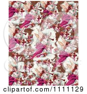 Clipart Collage Pattern Of Victorian Christmas Angels In Bronze And Pink Tones Royalty Free Illustration