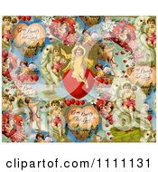 Collage Pattern Of Victorian Angels And Valentines