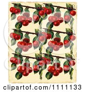 Clipart Collage Pattern Of Cherry Branches On Parchment Royalty Free Illustration