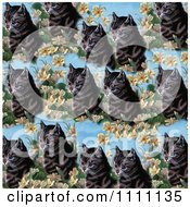 Collage Pattern Of A Cat And Flowers On Blue