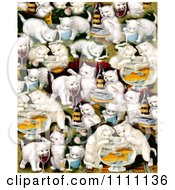 Collage Pattern Of Victorian Cats With Milk Wine And Fish Bowls