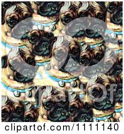 Clipart Collage Pattern Of Victorian Pugs With Bell Collars Royalty Free Illustration