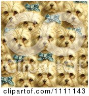 Collage Pattern Of Victorian Terrier Dogs With Blue Bows