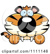 Clipart Cute Happy Tiger Cub Hanging Over A Sign Royalty Free Vector Illustration