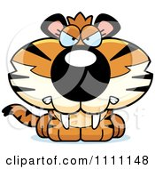 Clipart Cute Angry Tiger Cub Royalty Free Vector Illustration