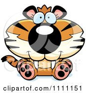 Clipart Cute Sitting Tiger Cub Royalty Free Vector Illustration