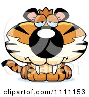 Clipart Cute Depressed Tiger Cub Royalty Free Vector Illustration