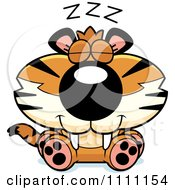 Clipart Cute Sleeping Tiger Cub Royalty Free Vector Illustration