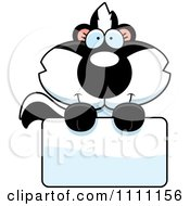 Clipart Cute Baby Skunk Over A Sign Royalty Free Vector Illustration